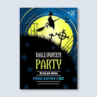 Manifesto del partito di halloween in stile realistico