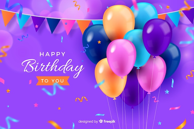 Happy birthday card with balloons and confetti Vector | Free