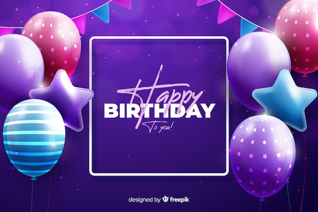 Realistic style happy birthday background