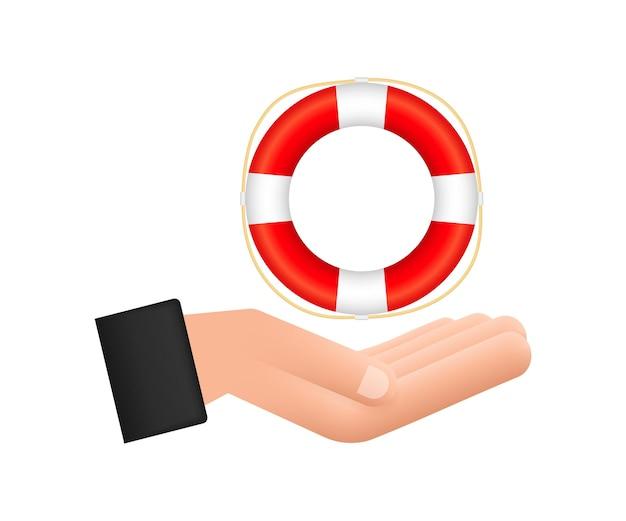 Реалистичный стиль, спасательный круг в руках на белом фоне. векторная иллюстрация штока.