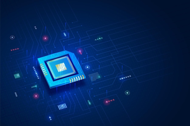 Realistic style microchip processor background