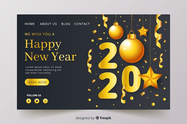 Realistic style new year landing page