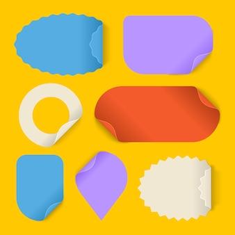 Realistic style paper sticker set