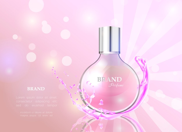 Realistic style perfume in a glass bottle.