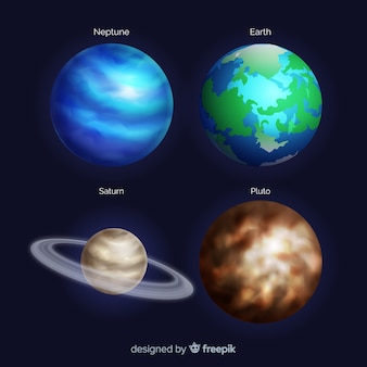 Realistic style planets collection