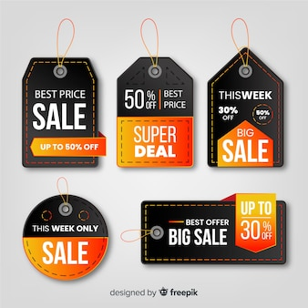 Realistic style sales label collection