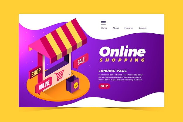 リアルなスタイルのショッピングオンラインランディングページ