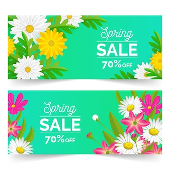 Realistic style spring sale banners with discount