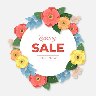 Realistic style spring sale with flowers