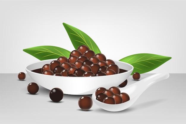 Realistic style tapioca pearls