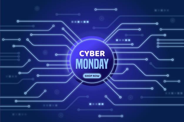 현실적인 스타일의 기술 사이버 월요일