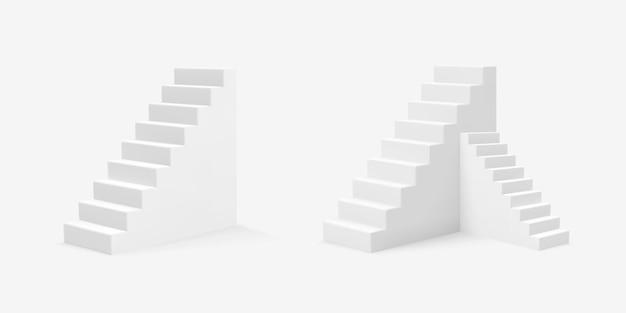 リアルなスタイルの白い階段のイラスト