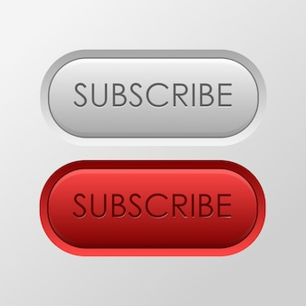 Realistic  subscribe buttons on the white background. concept of social media and blog.