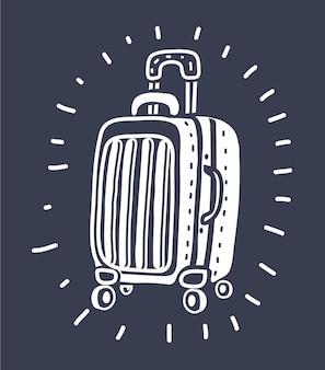 Реалистичный вектор чемодан для путешествий на изолированном белом фоне