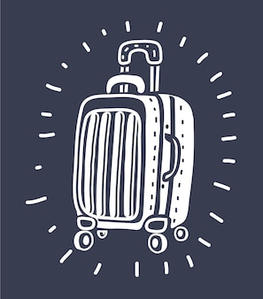 Realistic suitcase vector for travel on isolated white background