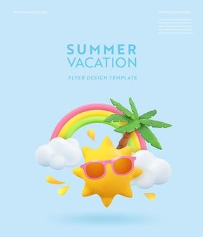 リアルな夏の3dチラシデザイン。シーン熱帯のヤシの木、太陽、虹、雲をレンダリングします。熱帯のビーチオブジェクト、休日のwebポスター、バナー、季節のパンフレット、表紙。夏のモダンな背景