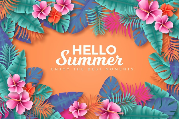 Realistic summer background theme