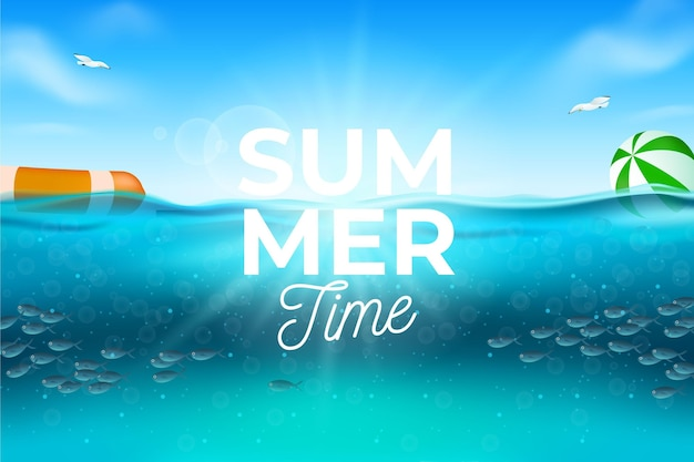 Realistic summer background with beach