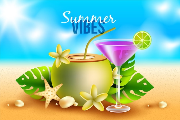 Realistic summer background with cocktail