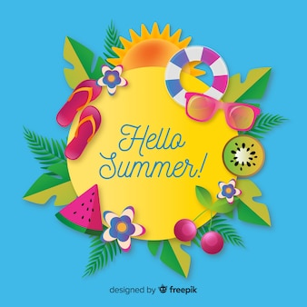 Realistic summer background with elements