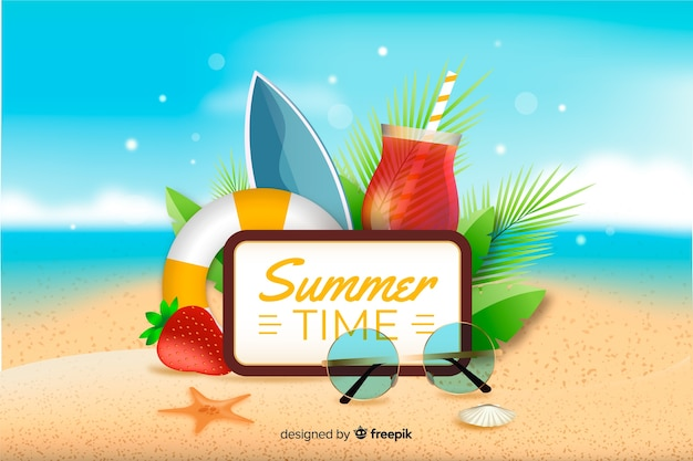 Realistic summer background with summer objects