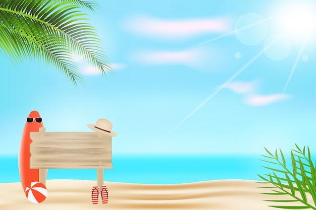Реалистичный летний фон с деревянными досками, очками, шляпой, доской для серфинга и волейболом