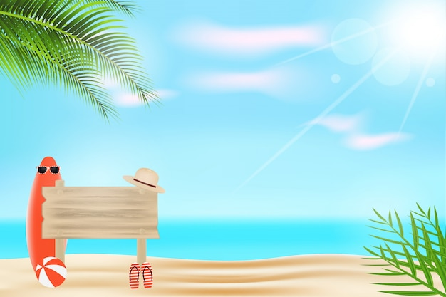 Realistic summer background with wooden planks, glasses, hat, surfboard and volleyball