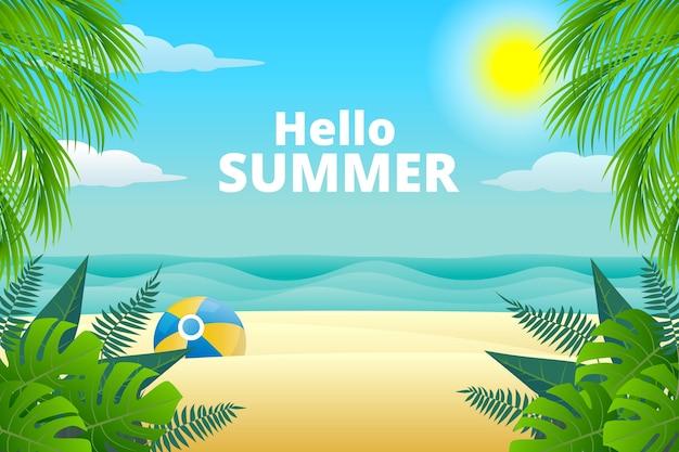 現実的な夏の背景 Premiumベクター