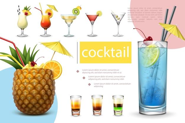 피나 콜라다 데킬라 선 라이즈 마가리타 코스모 폴리탄 마티니 블루 라군 및 다른 샷 음료와 함께 현실적인 여름 칵테일 컬렉션