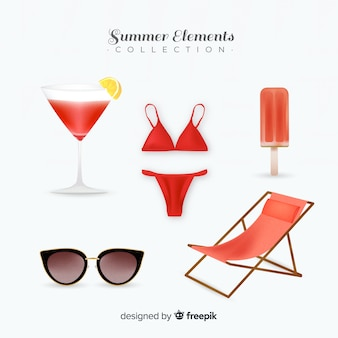 Realistic summer element collection