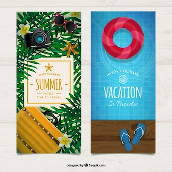 Realistic summer elements banners