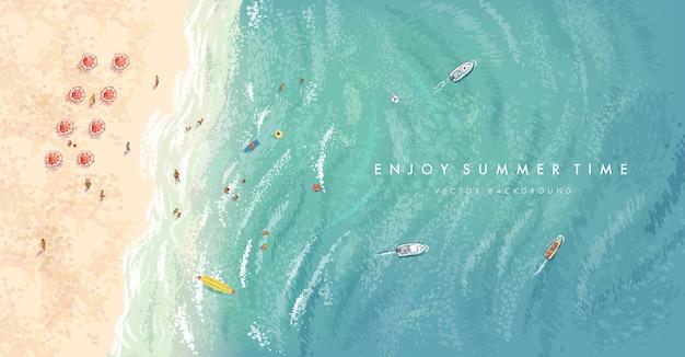 Реалистичные летние элементы на фоне пляжа