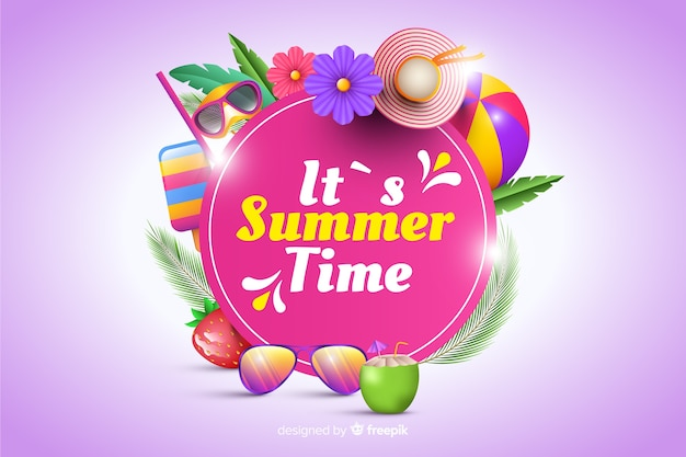 Realistic summer elements surrounding sign background