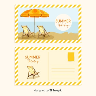 Realistic summer holiday postcard collection