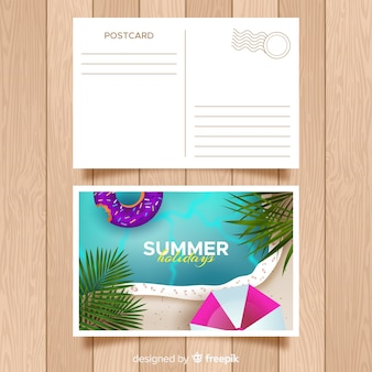 Realistic summer holiday postcard