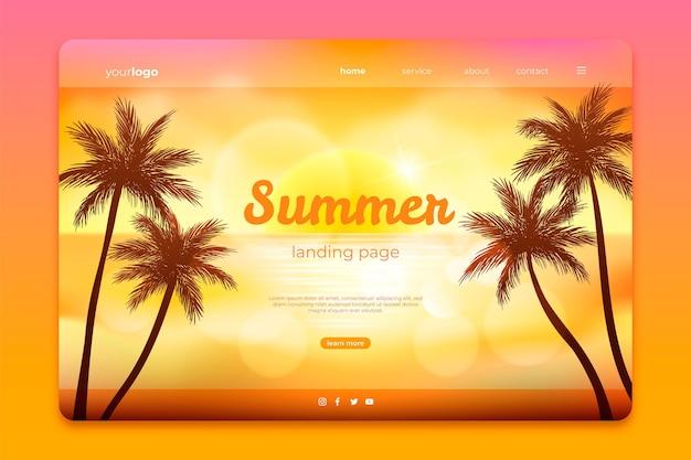 Реалистичный шаблон летней целевой страницы