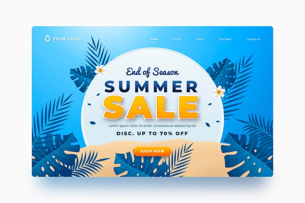 Realistic summer landing page template