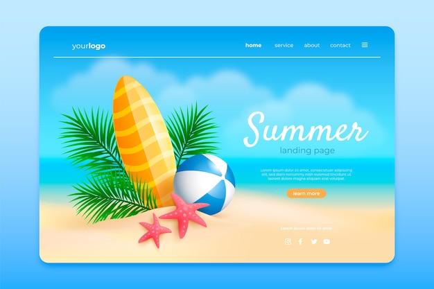 Modello di pagina di destinazione estiva realistico