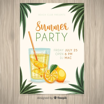 Realistic summer party flyer template