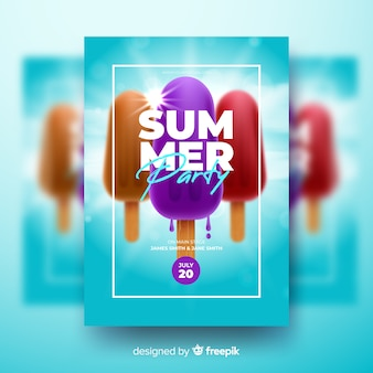 Realistic summer party poster template