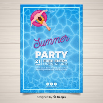 Realistic summer party poster