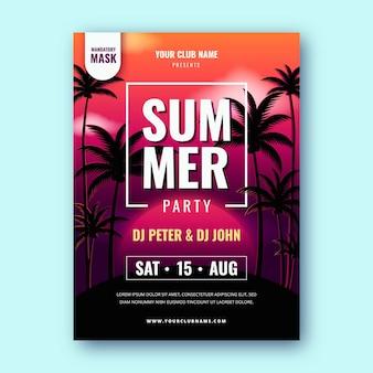 현실적인 여름 파티 수직 포스터 템플릿
