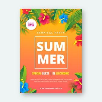 Modello di poster verticale festa estiva realistica