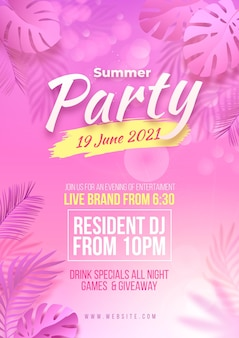 Realistic summer party vertical poster template