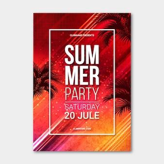 Реалистичная летняя вечеринка вертикальный шаблон плаката