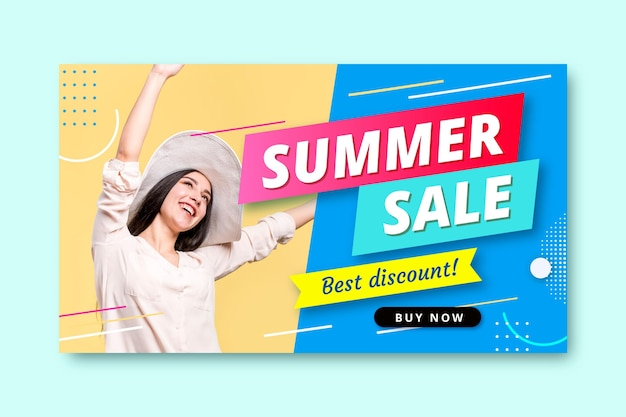 Realistic summer sale banner template with photo