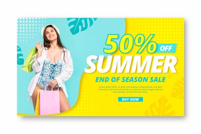 Реалистичный шаблон летней распродажи с фото