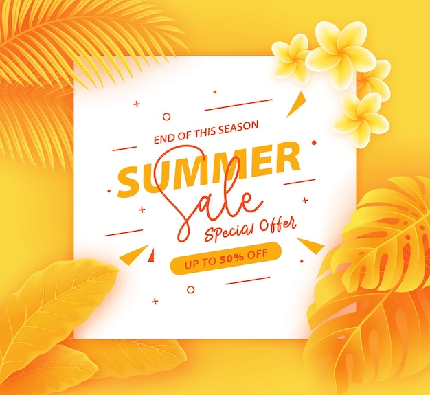 Realistic summer sale banner with leaves