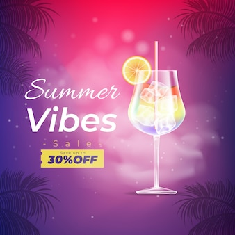 Realistic summer sale banner