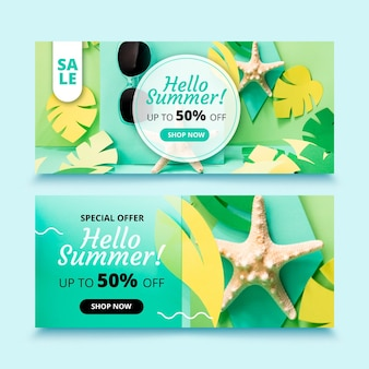 Realistic summer sale banners set with photo
